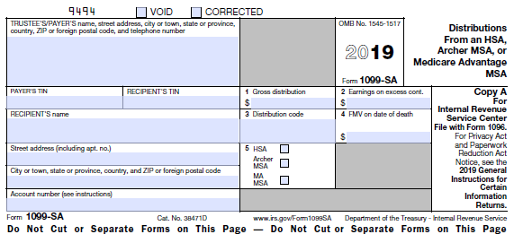 IRS Form 1099-SA Download Fillable PDF or Fill Online ... |Hsa Distribution Form