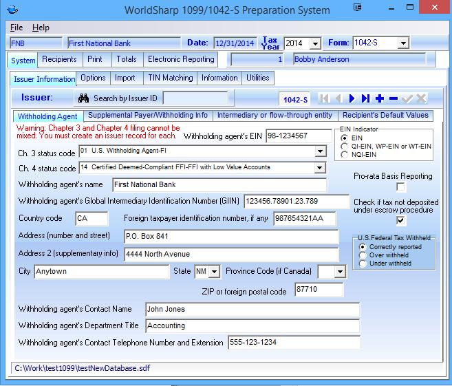 1042-S Software - WorldSharp 1099/1042-S Software features