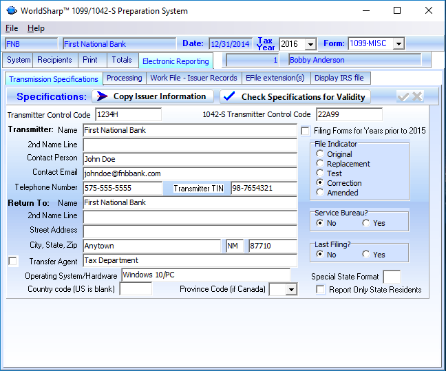 1099 Software Worldsharp 1099 Software Features